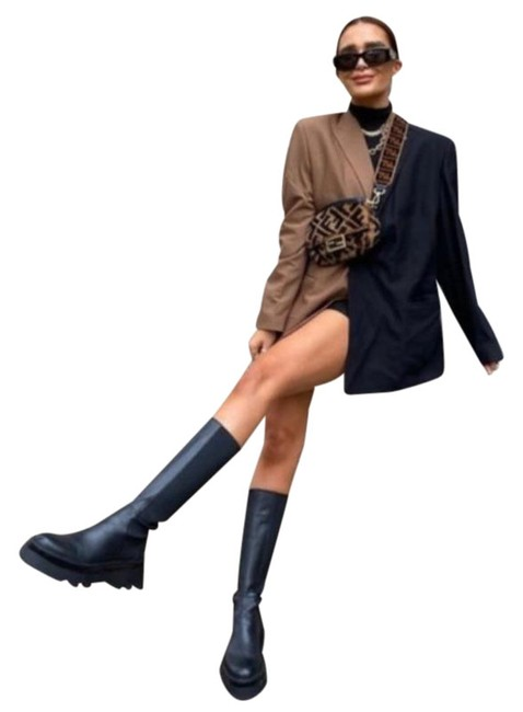Item - Black Lug Sole Low Heeled Leather Knee High Boots/Booties Size US 6.5 Regular (M, B)