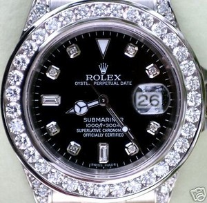 Rolex Rolex Submariner Mens 16610 Watch Bling Bling Diamonds