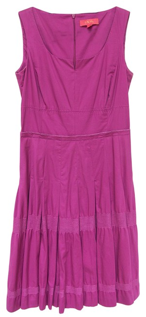 Item - Pink Sleeveless Fit-and-flare Pleated Skirt Mid-length Work/Office Dress Size 8 (M)