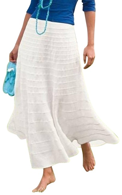 Item - White Arielle Linen Tiered Skirt Long Casual Maxi Dress Size 12 (L)