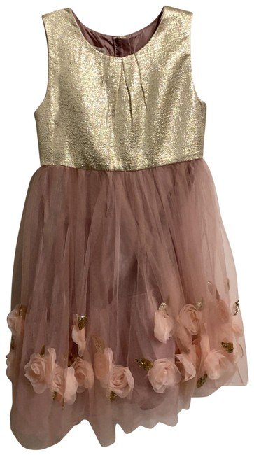 Item - Pink Sequined Flower Appliqué Year Old Mid-length Cocktail Dress Size 10 (M)