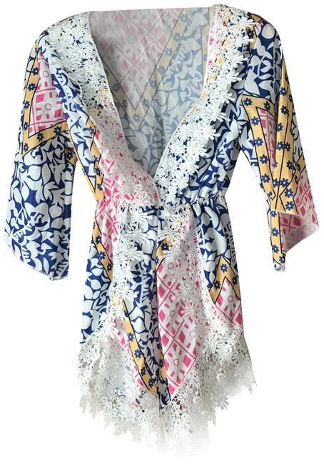 Item - White W/Blue Pink Yellow Romper W/Lace Cover-up/Sarong Size 4 (S)