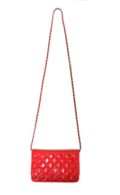 Chanel Chain Wallet on Woc Red Patent Leather Messenger Bag Chanel Chain Wallet on Woc Red Patent Leather Messenger Bag Image 2