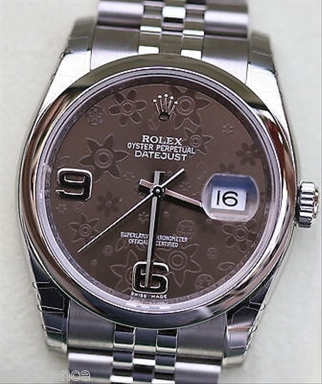 Rolex Rolex Datejust 36mm Brown Floral Dial Model 116200 Stainless Steel Mens Ladies