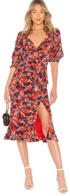 Item - Red Olivia Floral Mid-length Cocktail Dress Size 6 (S)