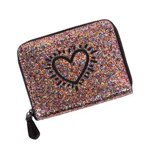Coach NEW Keith Haring Glitter Collection Heart Zip-Around Wallet