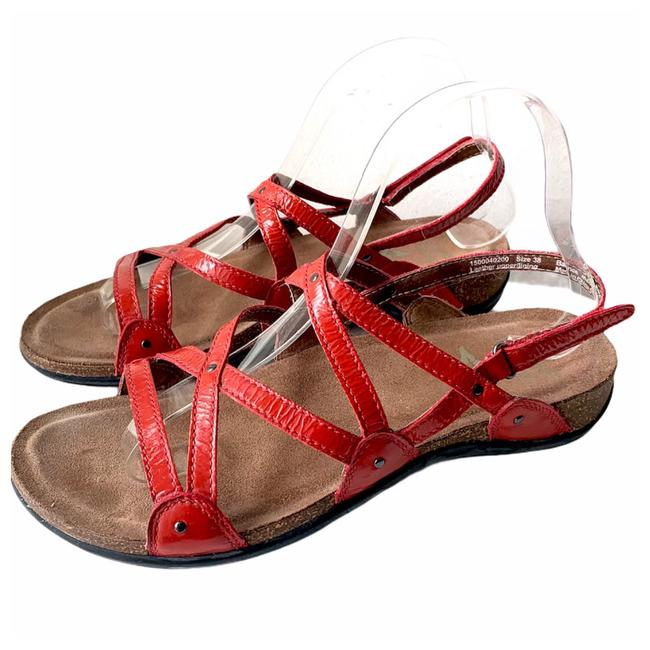 Item - Red Women's Leather Sandals Size EU 38 (Approx. US 8) Regular (M, B)