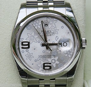 Rolex Rolex Mens Ladies Datejust Watch 36mm Silver Floral Flower Dial Steel
