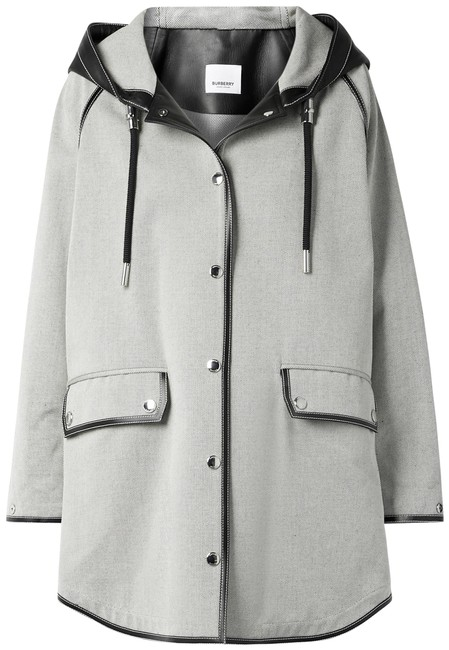 Item - Ivory and Black Leather-trimmed Cotton-canvas Hooded Coat Jacket Size 8 (M)