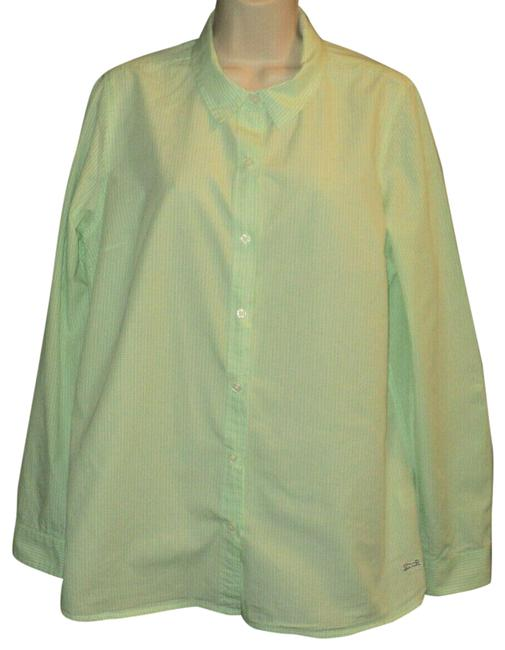 Le Tigre Lime Green & White Checked Fron Buttoned Long Sleeves with Roll Tab Button-down Top Size 14 (L) Le Tigre Lime Green & White Checked Fron Buttoned Long Sleeves with Roll Tab Button-down Top Size 14 (L) Image 1