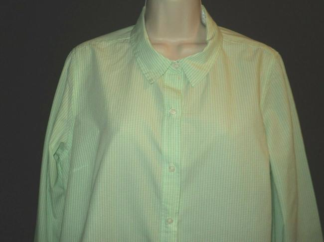 Le Tigre Lime Green & White Checked Fron Buttoned Long Sleeves with Roll Tab Button-down Top Size 14 (L) Le Tigre Lime Green & White Checked Fron Buttoned Long Sleeves with Roll Tab Button-down Top Size 14 (L) Image 2