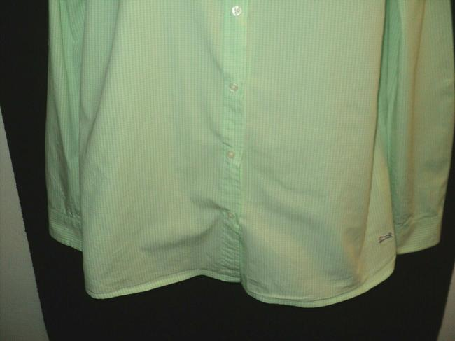 Le Tigre Lime Green & White Checked Fron Buttoned Long Sleeves with Roll Tab Button-down Top Size 14 (L) Le Tigre Lime Green & White Checked Fron Buttoned Long Sleeves with Roll Tab Button-down Top Size 14 (L) Image 3