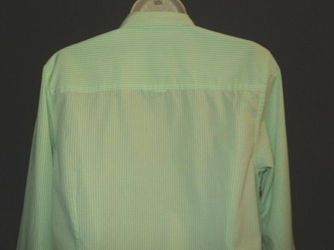 Le Tigre Lime Green & White Checked Fron Buttoned Long Sleeves with Roll Tab Button-down Top Size 14 (L) Le Tigre Lime Green & White Checked Fron Buttoned Long Sleeves with Roll Tab Button-down Top Size 14 (L) Image 5