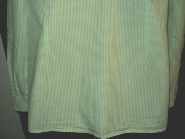 Le Tigre Lime Green & White Checked Fron Buttoned Long Sleeves with Roll Tab Button-down Top Size 14 (L) Le Tigre Lime Green & White Checked Fron Buttoned Long Sleeves with Roll Tab Button-down Top Size 14 (L) Image 6