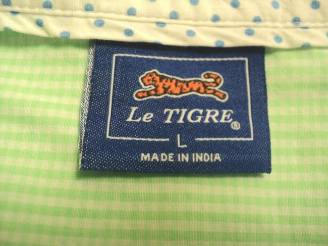 Le Tigre Lime Green & White Checked Fron Buttoned Long Sleeves with Roll Tab Button-down Top Size 14 (L) Le Tigre Lime Green & White Checked Fron Buttoned Long Sleeves with Roll Tab Button-down Top Size 14 (L) Image 7