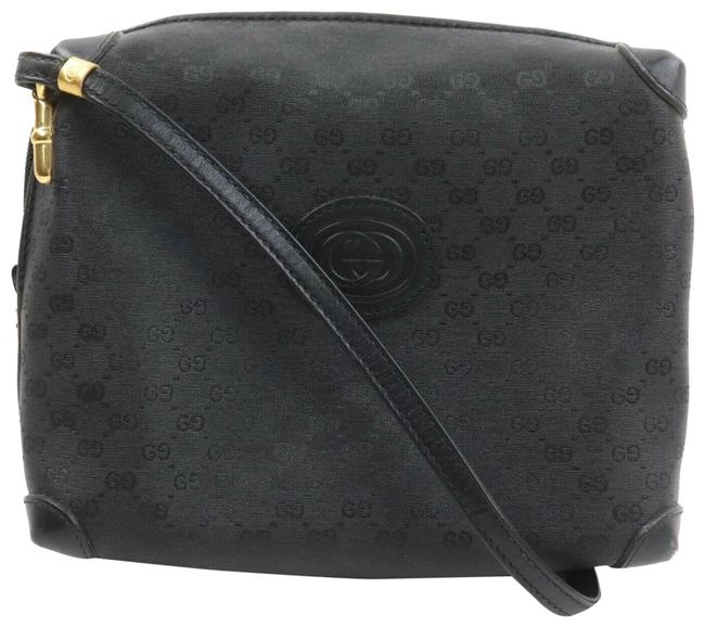 Item - GG Supreme Shoulder W ssima Shoulder Bag/Cross Bamboo Accents Black Micro G Print/Gold Leather Cross Body Bag