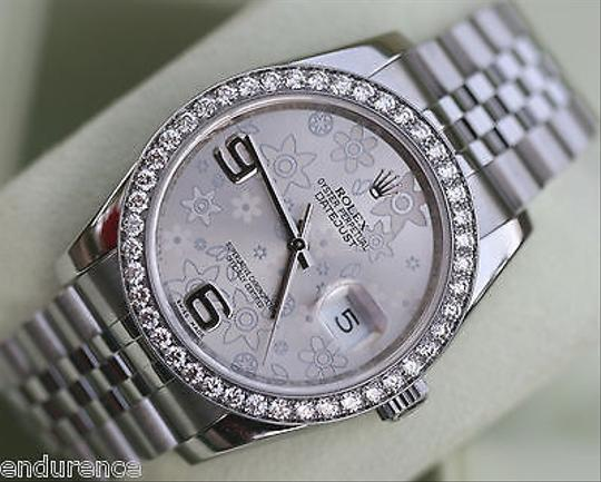 Rolex Rolex Datejust Watch 116200 Steel Diamonds Silver Floral Dial Box Certificate