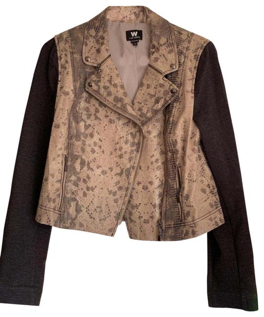 Item - Grey and Beige Lace Snakeskin-print Moto Jacket Size 6 (S)