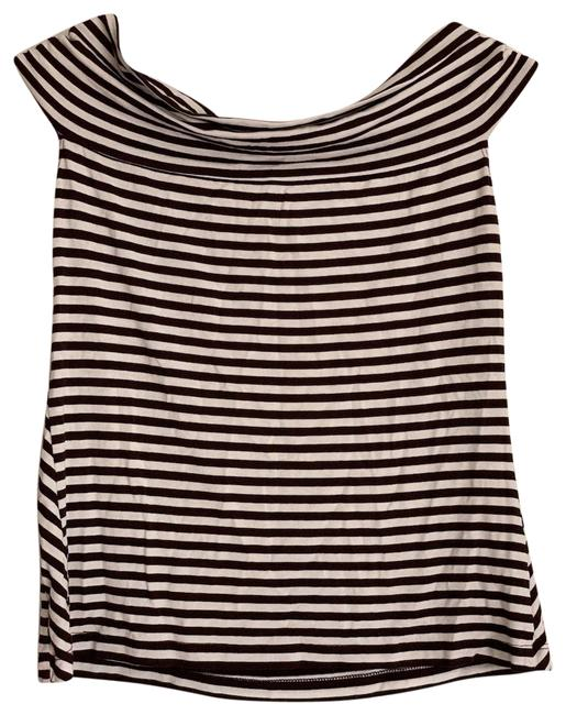 Item - Brown Striped Off The Shoulder Shirt Tank Top/Cami Size 4 (S)