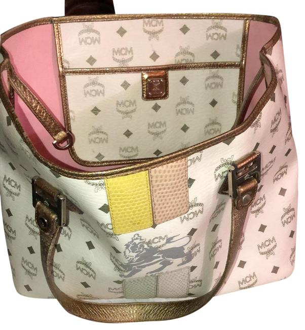 Item - White and Gray Leather Tote