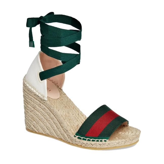 Item - White/ Green/ Red Women's Lilibeth Web Espadrille Wedge Sandals Size EU 39.5 (Approx. US 9.5) Regular (M, B)