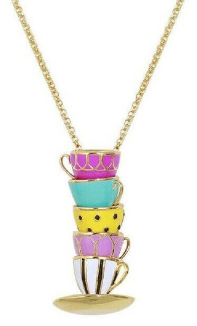 Item - Gold/ Pink /Yellow Tea Time Tea Cup Pendant Multi Necklace