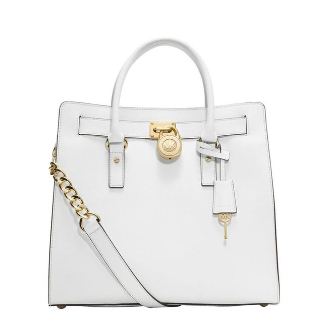 Item - Hamilton Ns Large Lock and Key (New with Tags) Optic White/Gold Hardware Saffiano Leather Tote
