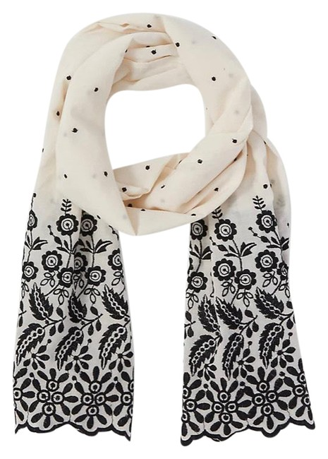 Item - Ivory A Black Dotted Floral Eyelet Scarf/Wrap
