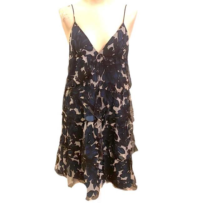 Item - Blue Navy Black White Floral Silk Cocktail Dress Size 2 (XS)