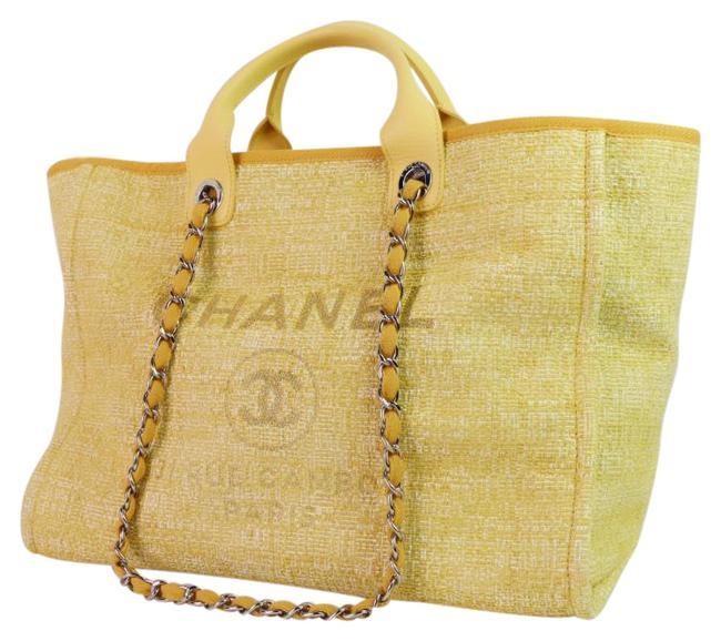 Item - Deauville Bag Tweed Canvas Shoulder Light Silver Hardware Shw Yellow Tote