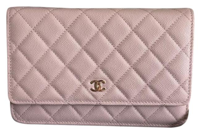 Item - Wallet on Chain Rose Clair Caviar Leather Cross Body Bag