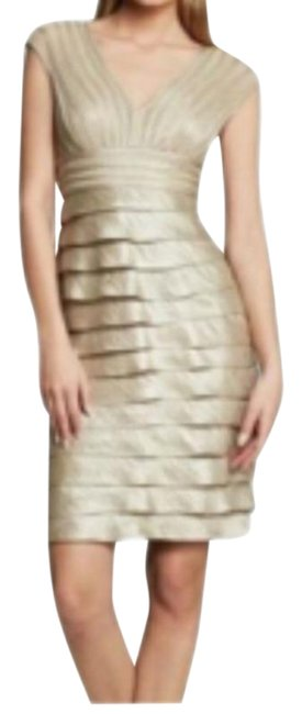 Item - Gold Tiered Hammered Satin Short Cocktail Dress Size 6 (S)