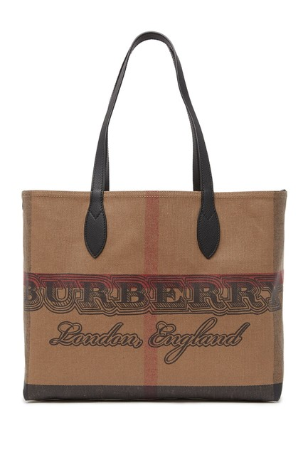 Item - Leather Trimmed Doodle Beige Canvas Tote
