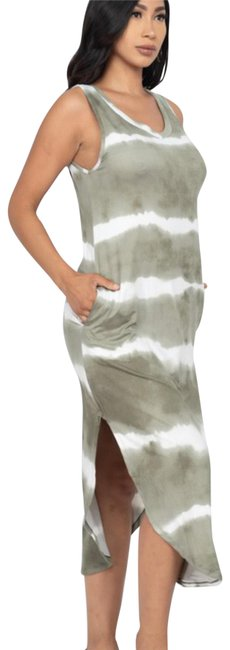 Item - Olive & White Midi Tied Dyed Mid-length Short Casual Dress Size 6 (S)