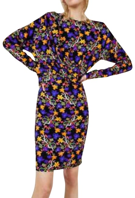 Item - Purple Trafaluc Sleeved Striped Floral Bodycon Short Casual Dress Size 8 (M)