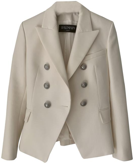 Item - Pearl White Double Breasted 6 Silver Buttons Blazer Size 4 (S)