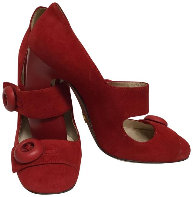 Item - Red Suede Mary Jane with Buttons Pumps Size EU 38 (Approx. US 8) Regular (M, B)