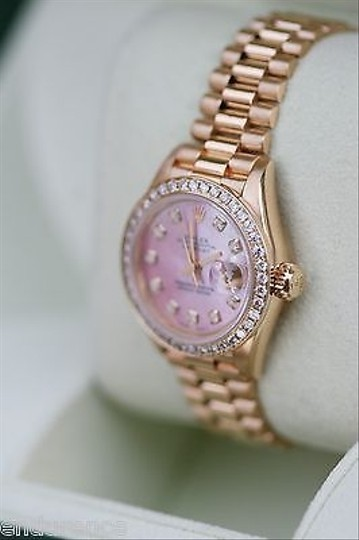 Rolex Rolex President Ladies Womens 18k Gold Watch Diamonds Pink Mother Of Pearl 69178