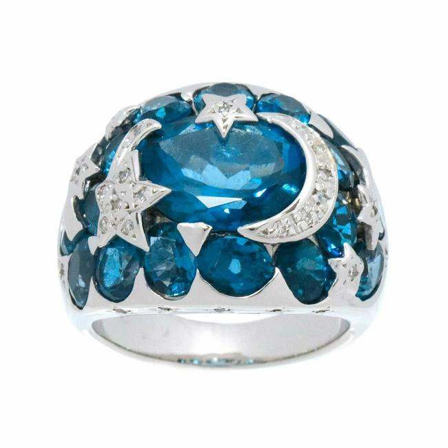 Item - Blue/White/Silver 18k Gold Topaz Diamond Ring
