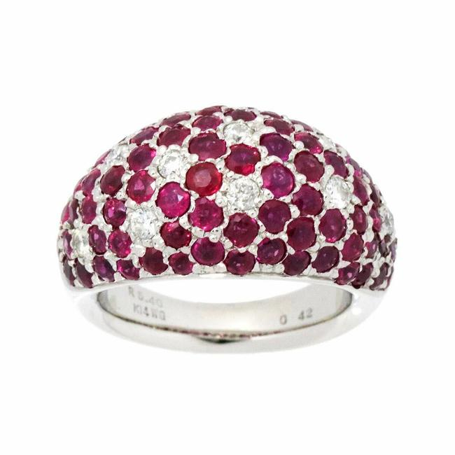 Item - Red/White/Silver Gold Ruby Diamond Ring