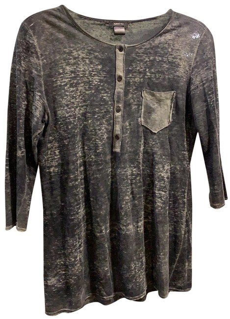 Item - Speckled Grey Thin Linen Top. Button-down Top Size 8 (M)