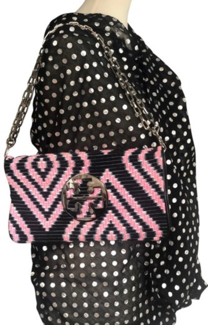 Item - Reva Navy and Pink Leather/Burlap Clutch