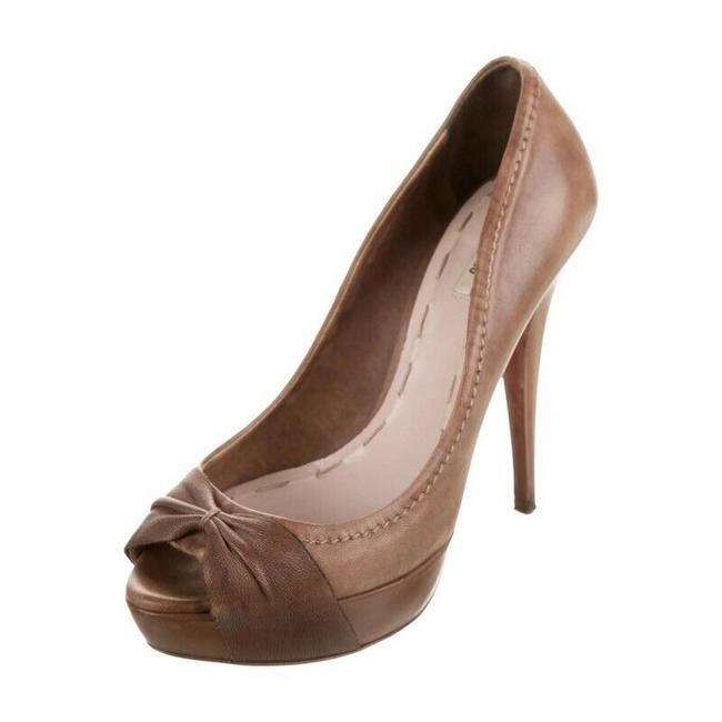 Item - Brown Knotted Leather Pumps Size EU 37 (Approx. US 7) Regular (M, B)