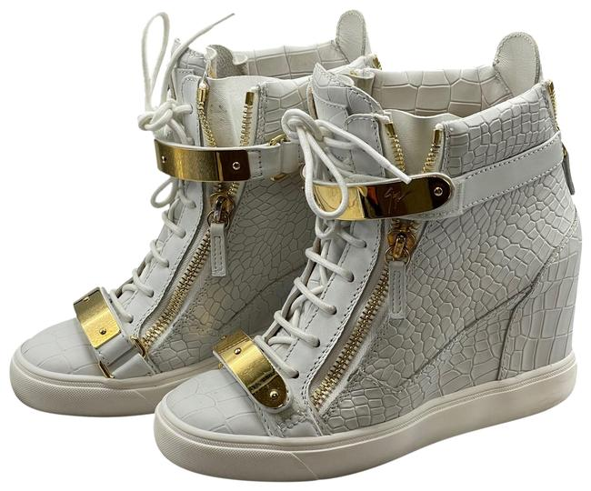 Item - White Gold Tone Croc Embossed Leather Wedge Velcro Zipper High Top Sneakers Size EU 39 (Approx. US 9) Regular (M, B)