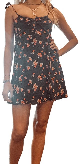 Item - Black with Red Cherry Pattern Tie Strap Print Strappy Sundress Short Casual Dress Size 4 (S)