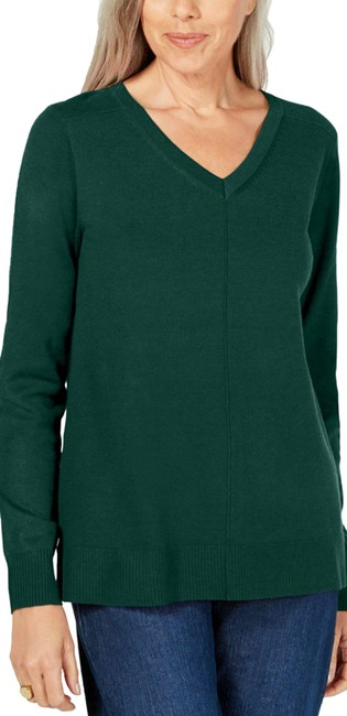 Item - V-neck Soft Relaxed Green Heather Sweater