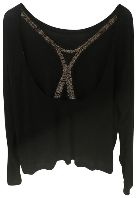 Item - Black Backless Embellished Sequin Tee Shirt Size 8 (M)