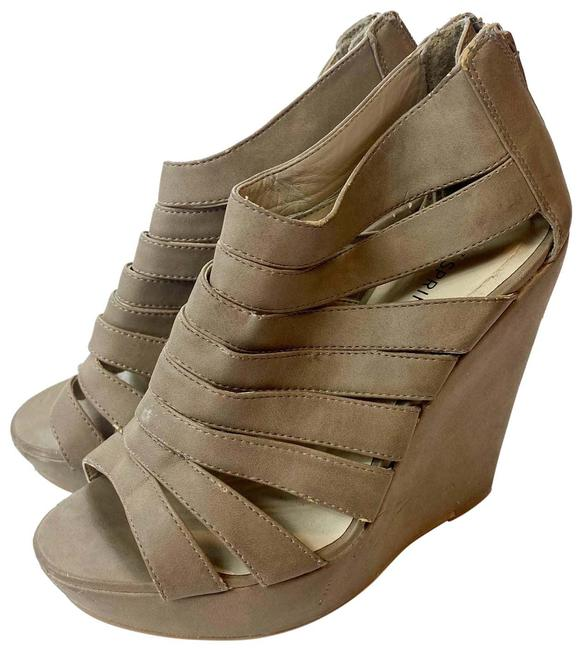 Item - Taupe Faux Leather Wedges Size US 6 Regular (M, B)