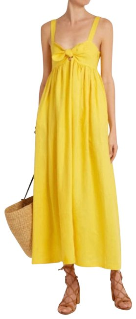 Item - Yellow Tie Front Organic Linen In Sunny Casual Maxi Dress Size 2 (XS)