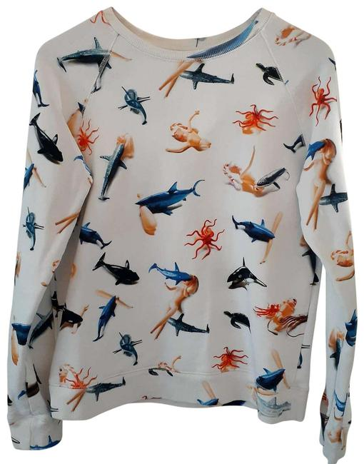 Item - Shark and Barbie Print Sweatshirt White Sweater